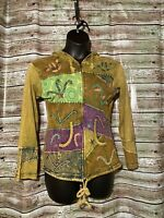 Size M/L Fair Trade Embroidered Zip Up Hoodie Jacket Coat Elf Boho Gypsy Hippie