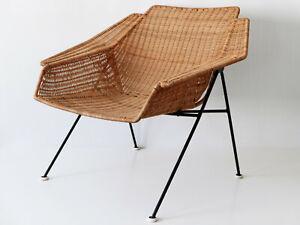 Exceptional MID CENTURY MODERN Wicker LOUNGE CHAIR Armchair, 1950s, Sweden