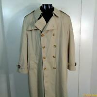 MISTY HARBOR Vtg USA Long RAINCOAT Rain Trench Coat Mens Size 44S 44 khaki