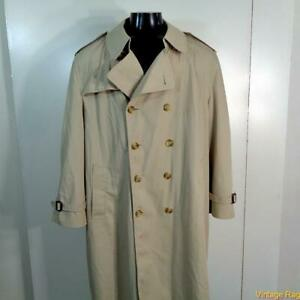 MISTY HARBOR Vtg USA Long RAINCOAT Rain Trench Coat Mens Size 44S 44 khaki