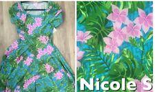 LuLaRoe S Nicole Dress Unicorn HTF Retro Blue Pink Green Floral Tropical Island