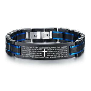 Man Men Bracelet Gift Stainless Steel Bible Lord's Prayer Phrase Christian Cross