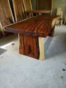 Live edge single slab wood dining conference table