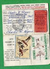 CALIFORNIA 1971 Resident Hunting License W/ RW38 + CA#1 Duck Stamp - 835