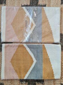 BNWT Set Of Two La Redoute Pink Grey Mustard White Geometric Cushion Covers