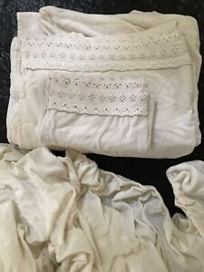vintage warm cotton flannel sheet set fitted, flat, pillow case white eyelet