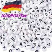 New: 1000 Acryl Weiß Schwarz Buchstaben Perlen Spacer Beads 7mm--*