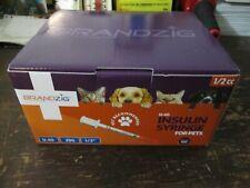 "Brandzig Vet Recommended U-40 Insulin Syringe Pets 29G 1/2"" 100 New Sealed"