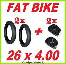 2 x COPERTONI COPERTURE PNEUMATICI 26 x 4.00 + 2 x CAMERA D'ARIA ideali FAT BIKE