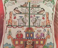 Janlynn Cross Stitch Kit 023-0224 Noahs Ark Christmas Pillow Linda Gillum 9 x 9