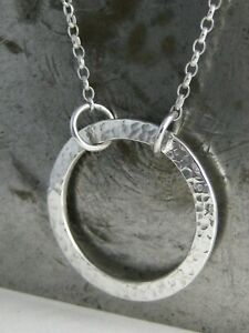 Sterling Silver 925 Sparkly Hammered Open Circular Necklace -  Handmade In UK