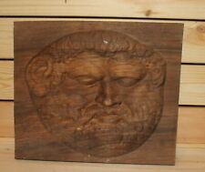 Thrace king Teres I hand carving wood wall hanging plaque