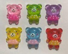 6 X SMALL GLITTER TEDDY BEAR RESIN FLATBACK EMBELLISHMENT CRAFT SCRAPBOOK BOWS