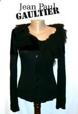 JEAN PAUL GAULTIER ~ Black shirt ruffle collar ~ size: S  * AUTHENTIC JPG
