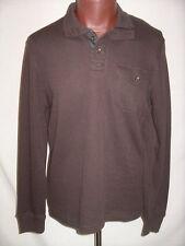 PERRY ELLIS Dk Brown Cotton Blend Zip Neck Polo Henley Shirt - Men's L - NWT