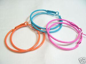 3 Pairs x Colour Coated Metal Hoop Earrings -#01 - 40mm