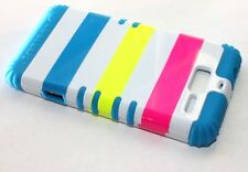 Motorola Droid RAZR M i XT907 - HARD & SOFT HYBRID CASE PINK TEAL BLUE STRIPES