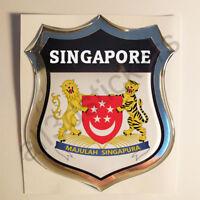 Sticker Singapore Emblem Coat of Arms Shield 3D Resin Domed Gel Vinyl Decal Car