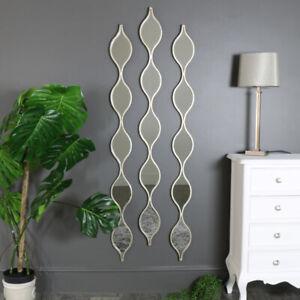 Set 3 tall slim decorative silver ripple wall mirrors eastern exotic decoration