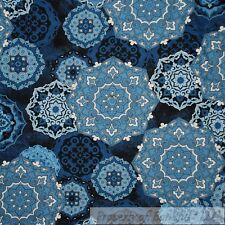 BonEful Fabric Cotton Quilt Vtg Navy Blue White Large Flower Lace Damask L Scrap