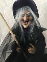 Wicked Witch Purple Hat Black Dress Flying on Broomstick Halloween Ganz Doll