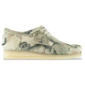 Clarks Originals - Men's Wallabee Shoes - Off White Camo Suede