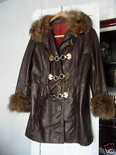 Women's Hippies Genuine Leather Coat / Furt Vintage 1950's-1960's, Made in USA