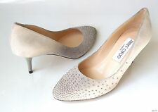 new $795 JIMMY CHOO 'Rena' gray suede silver STUDDED shoes 34.5 US 4.5 - classic