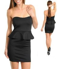 Sz 10 12 Black Strapless Peplum Cocktail Dance Party Formal Slim Fit MiniDress