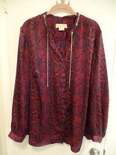 Michael Kors Women's Plus Size Button Down Snake Print Long Sleeve Blouse - 2X