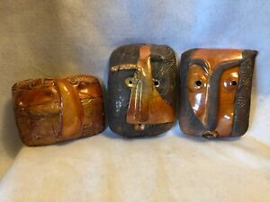 Neo-Miamian Artifacts Trio of Ceramic Masks Created and Signed by Gary Baker