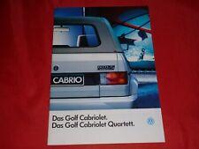 VW Golf I Cabriolet + Cabriolet Quartett Prospekt Brochure Depliant Folleto 1992
