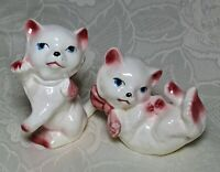 Vintage Pair Of White Cat Kittens Figurines With Pink Bows Made In Japan