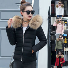 UK Womens Lady Quilted Winter Coat Puffer Fur Collar Hooded Jacket Parka Down HW