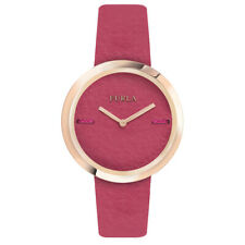 Furla Women's R4251110503 My Piper Rose-Gold IP Steel Pink Leather Watch
