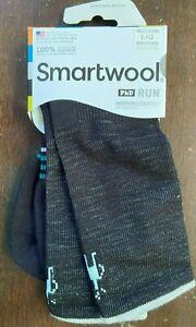 NWT Smartwool Womens PhD Run Light Elite Crew Socks Large Merino Wool Black
