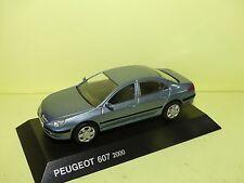 PEUGEOT 607 2000 Bleu NOREV sur socle 1:43