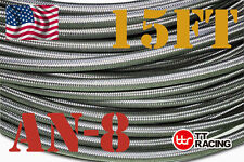 -8AN AN8 8-AN STAINLESS STEEL RUBBER BRAIDED FUEL LINE HOSE 15FT