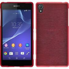 Coque en Silicone Sony Xperia Z2 - brushed rouge + films de protection