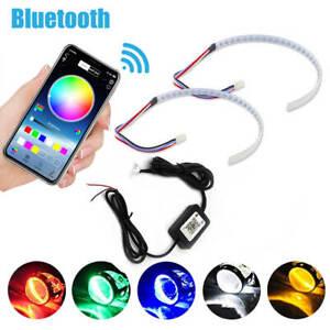 Bluetooth Wireless Control RGB LED Demon Eye Halo Ring Headlight Projector Lens