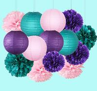 Baby Shower Decor for Birthday Paper Lanterns Mermaid Party Tissue Paper Pom Pom