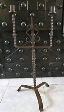 Ancien  bougeoir chandelier en fer forgé / Déco chateau / Iron Candelstick