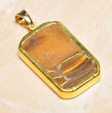 "Handmade Natural Golden Tiger's Eye Gemstone Pendant 2"" #P17296"