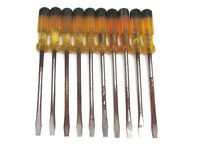 "NOS! BRIDGEPORT RHINO SLOTTED 8"" AMBERLITE HANDLE SCREWDRIVER LOT, #143, RUSTED"