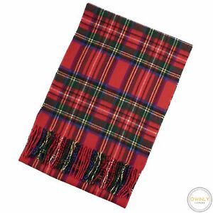 Anonymous Red Multi Color 100% Cashmere Plaid Fringe Scotland Thick Scarf