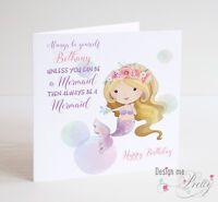 MERMAID Birthday Card - Personlised Daughter Granddaughter Niece Sister
