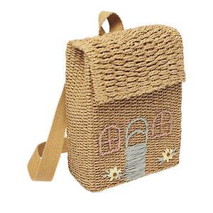 Straw Backpack Casual Natural Traveling Shoulder Pack Rattan Knitted Handbag