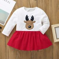 Christmas Deer Decor Kids Dress Long Sleeve Splicing Color Girls Dresses