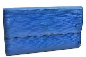 Auth Louis Vuitton Epi Porte Tresor International Wallet Blue LV A3129