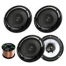 """6.5"""" Coaxial 300W Kenwood Flush Mount Speakers, 16Gauge 50FT Enrock Speaker Wire"""